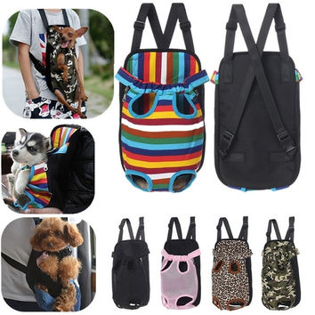 Fashion Pet Puppy Dog Cat Canvas Backpack Comfort Front Tote Carrier Travel Net Bag 4 Size 5 Styles