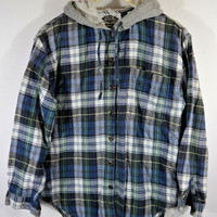 Blue Green White Gray Vintage Oversized Hipster Grunge Plaid Flannel Hoodie Jacket