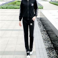 """Adidas"" Women Casual Stripe Letter Print Trousers Long Sleeve Cardigan Clothes Set Two-Piece Sportswear"