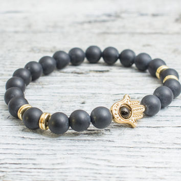 Matte black onyx beaded stretchy gold Hamsa hand bracelet, custom made yoga bracelet, mens bracelet, womens bracelet