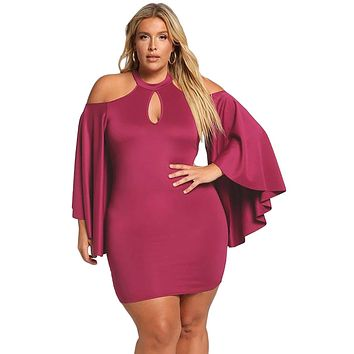 Rosy Plus Size Cold Shoulder Bell Sleeve Bodycon Dress