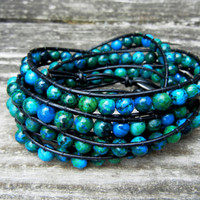 Beaded Leather Wrap Bracelet 4 or 5 Wrap with Blue and Green Sapphire Australian Jasper Beads on Black Leather