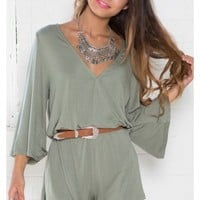 Cross It Playsuit in Khaki