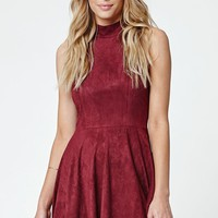 LA Hearts Faux Suede Goddess Neck Fit & Flare Dress - Womens Dress - Red