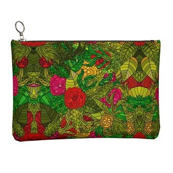 Hand Drawn Floral Seamless Pattern Leather Clutch Bag by The Photo Access