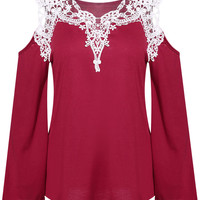 Bell Sleeve Cold Shoulder Contrast Lace Paneled Blouse