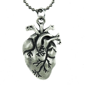 """1"""" Small Anatomical Human Heart Necklace Gothic Jewelry"""