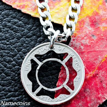 Fireman necklace, for firefighters, hand cut coin, Necklace or KeyChain