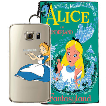 Disney's Alice in Wonderland Jelly Clear Case For Samsung Galaxy S7 EDGE + Pouch