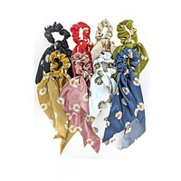 H496 - ASSORTED COLOR SUNFLOWER PRINT HAIR SCARF SCRUNCHIES