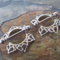 Set of Two Tribal Nipple Shields with Hearts