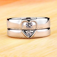 0.31 Carat Diamond Half Hearts Couples Engagement Rings