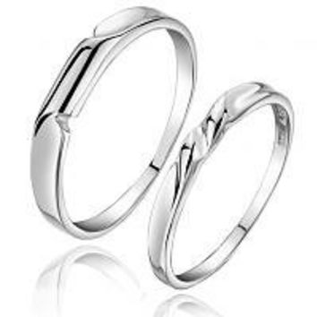 925 Sterling Silver Engrave Love Couple Ring