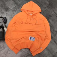 Champion Autumn Winter Popular Casual Embroidery Long Sleeve Hoodie Sweater Sweatshirt Orange