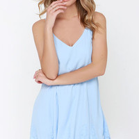Highly Refined Light Blue Lace Shift Dress