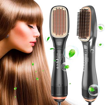 Straightening Brush with 3 Heat Levels for All Hair Types, 2 in 1 Ceramic Hair