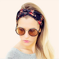 Women Bohemian Turban Twist Knot Head Wrap Floral Headband Twisted Knotted Hair Band Cotton Turban Headband
