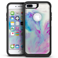 Marbleized Soft Blue V32 - iPhone 7 or 7 Plus Commuter Case Skin Kit