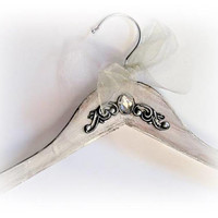 Personalized Wedding Gown Hanger Bride Hanger White Dress Hanger Bridal Hanger Wedding Name Hanger Bridal Shower Gift Maid of Honor