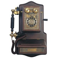 Old-Fashioned Wooden Crank-Style Wall Phone w/ Storage & Brass Accents