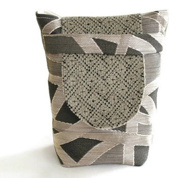 Small Reusable Gift Tote Bag Party Favor Silver Gray Charcoal Cream Modern Upholstery Fabric Holiday Wrapping --US Shipping Included
