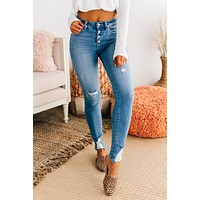 On The Go Distressed KanCan Jeans (Medium Wash)
