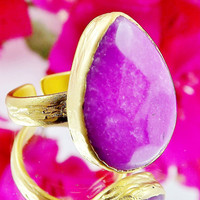 Violet Teardrop Jade Stone Adjustable Cocktail Statement Ring - 22k Matte Gold Plated - 1PC