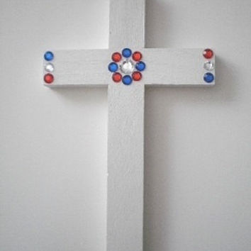 "PATRIOTIC BLING Wall Cross - Handpainted White w/ Red, Clear & Blue Rhinestones, 4th of July - 9.5"" x 5.5"""