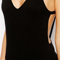 Black Strappy Back One Piece Swimsuit