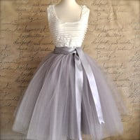 Pale grey tulle tutu skirt for women with silver satin lining- tea length, classic retro skirt.