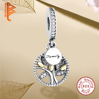 Luxury 925 Sterling Silver FAMILY TREE WITH Gold Plated CUBIC ZIRCONIA Pendant Charm Fit Pandora Bracelet Original Jewelry