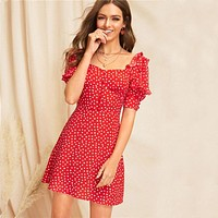 Lady Red Sweetheart Square Neck Ruffle Trim Polka Dot Dress Casual High Waist Puff Sleeve A Line Mini Dress