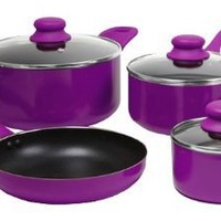 Gibson 83549.07 ColorSplash Branston 7-Piece Aluminum Cookware Set, Purple