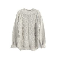 Beige Diamond Knit Sweater