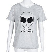 Funny T Shirts Women Print Aliens Short Sleeve Loose Crop Top Tshirts Cotton Women Camisetas Mujer#B718