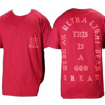 I Feel like Pablo The Real Life of Pablo Yeezy MSG Kanye West Red T shirt