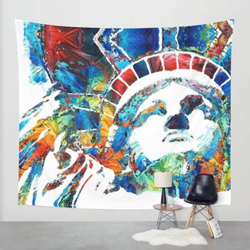 Colorful Statue Of Liberty - Sharon Cummings Wall Tapestry by Sharon Cummings | Society6