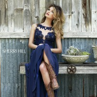 Sherri Hill 5207 Open Back Mesh Prom Dress