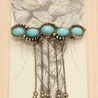 Boho Turquoise Gold Hair Pin Barrette
