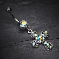 Shimmering Cross Patonce Belly Ring