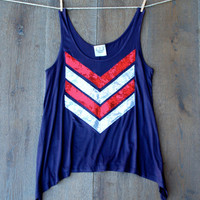 Fourth of July Sequin Chevron Tank Blue