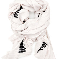 Embroidered Fern Cotton Scarf