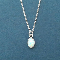 Tiny, White, Opal, Silver, Necklace, Birthday, Best friends, Sister, Gift, Jewelry
