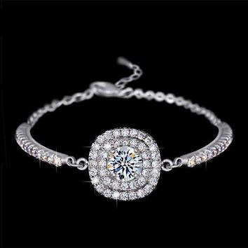 Luminaré 1ct Austrian Crystal Double Halo Bracelet White Gold Plated for Women Special Occasion
