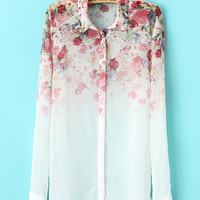 White Gradient Floral Print Long Sleeve Shirt Collar Chiffon Blouse