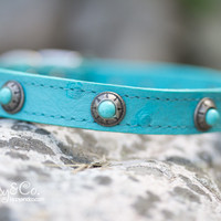 Turquoise Ostrich Leather Collar With Antique Silver and Turquoise