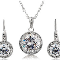 Elegant Crystal Dynamica™ Silver Necklace and Earrings Set Womens