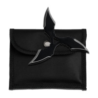"4"" Black 4mm Thick Throwing Star w/ Nylon Pouch"
