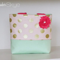 Little Girl Purse in Metallic Peach and Mint and Hot Pink Straps and Flower - Toddler Purse - Birthday Gift for Girl