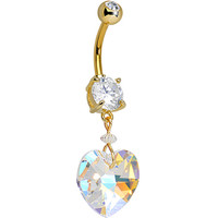 Gold Plated Double Clear Gem Big Beauty Clear Gem Heart Dangle Belly Ring | Body Candy Body Jewelry